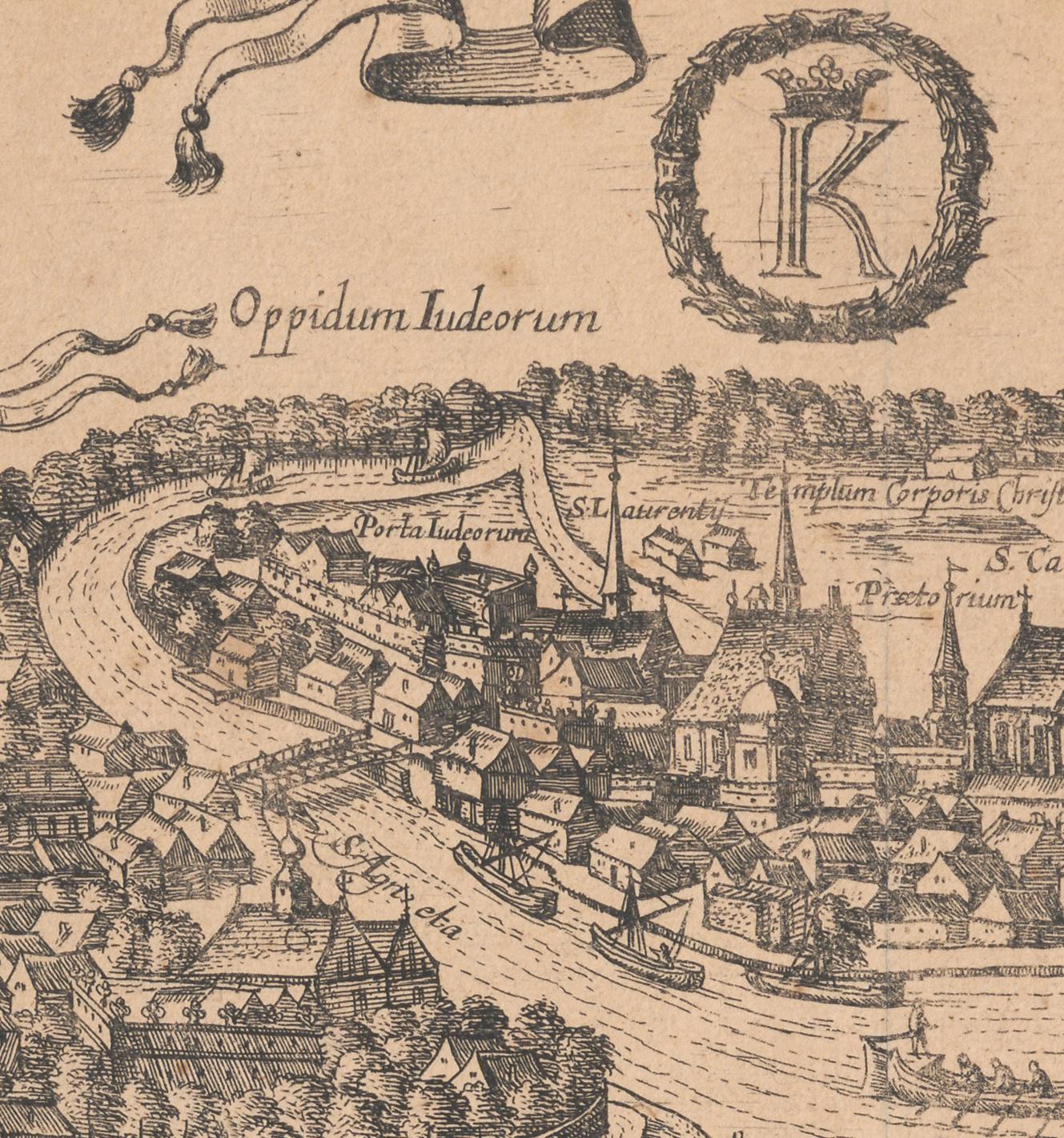 Fragment widoku Krakowa od północnego zachodu, autor nieznany, rysunek 1603-1605, ryt. 1617, Kolonia, miedzioryt. Widoczne są nad Wisłą (wówczas zwaną Zakazimierką) dwa budynki składu soli wielickiej na terenie Zabłocia (źródło: materiały prasowe organizatora)