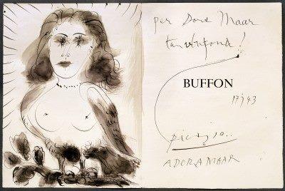 """Pablo Picasso, Szkic z dedykacją dla Dory Maar na marginesie książki """"Buffon"""" (reprodukcja), 1942 (źródło: materiały prasowe organizatora)"""