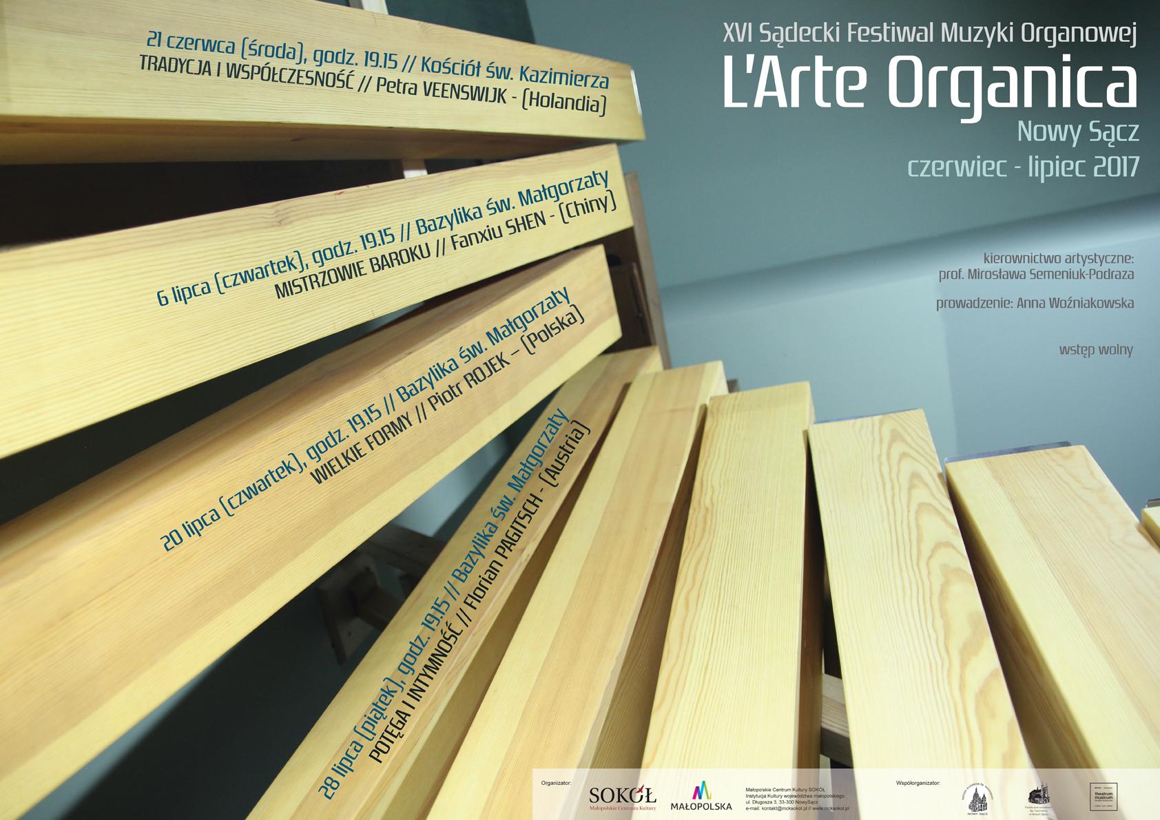 XVI Sądecki Festiwal Muzyki Organowej L'Arte Organica (źródło: materiały prasowe organizatora)