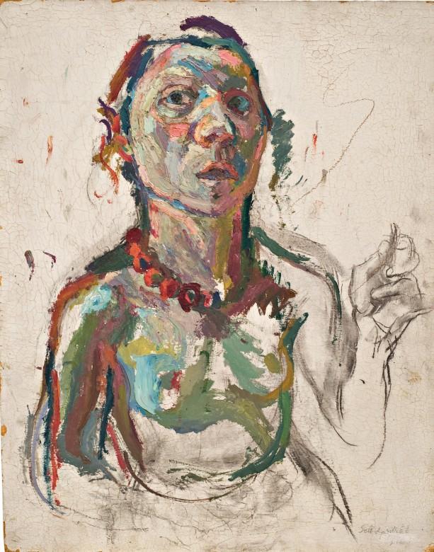 """Maria Lassnig, """"Selbstporträt expressiv (Expressive Self-portrait)"""", 1945 © Maria Lassnig Foundation (źródło: materiały prasowe organizatora)"""