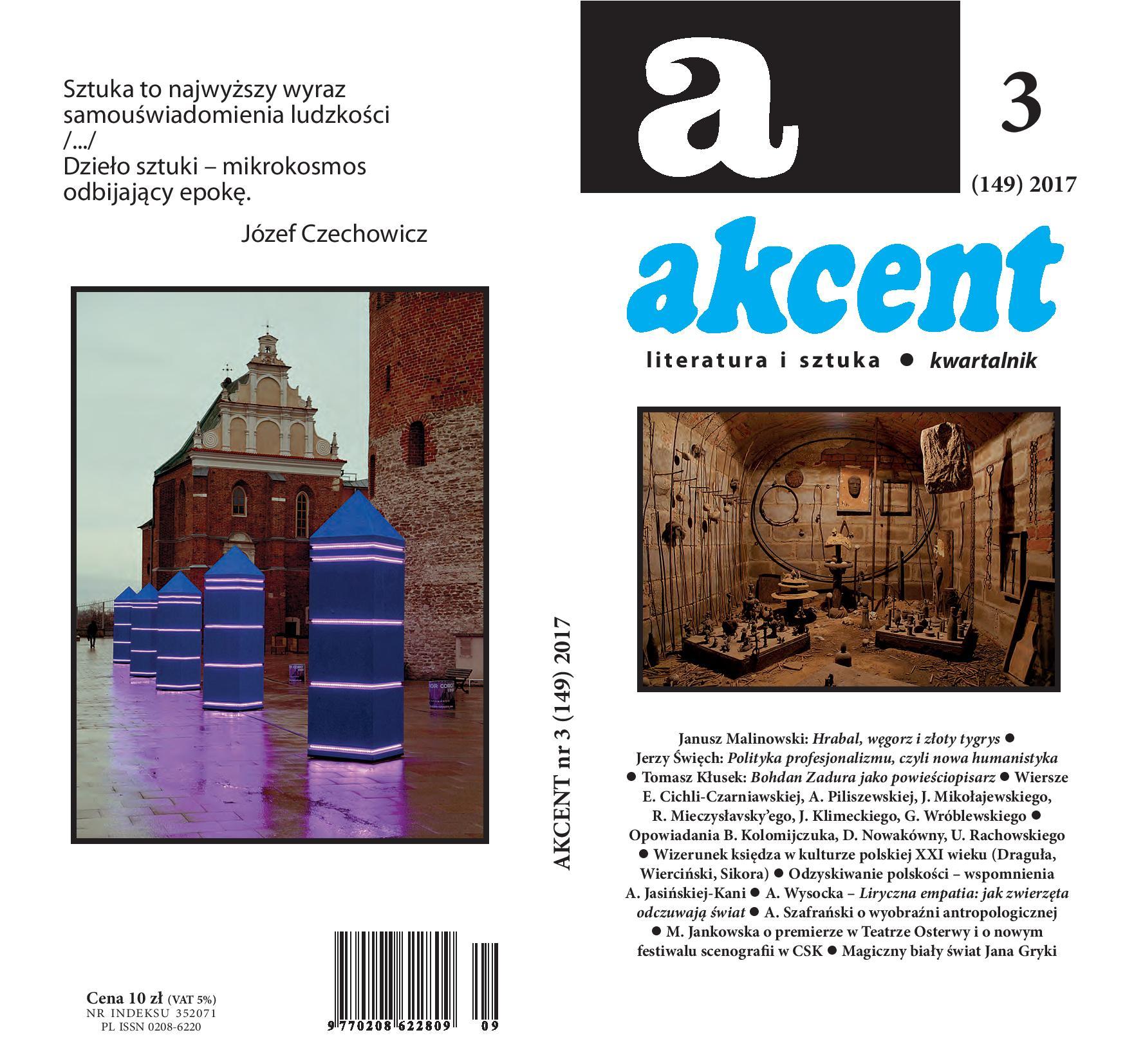 """Kwartalnik""""Akcent"""", nr 3/2017 – okładka (źródło: materiały prasowe wydawcy)"""