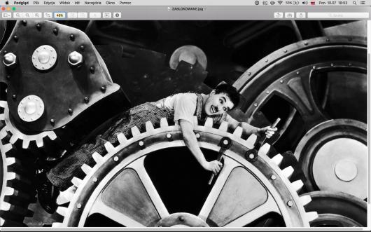 """""""Modern Times"""", reż. Charlie Chaplin, wycinek z pracy Antoniny Gugały (źródło: materiały prasowe organizatora)"""