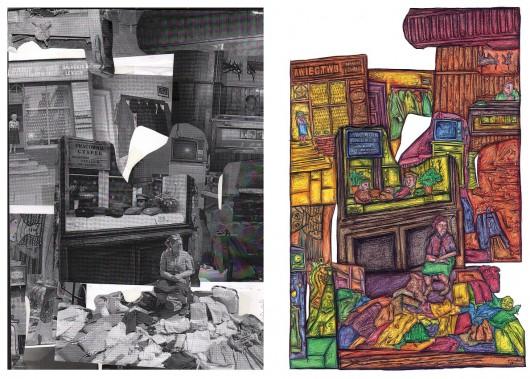 "©Nicholas Vaughan ""Bazaar Business Booming"", kolaż i rysunek (źródło: materiały prasowe organizatora)"