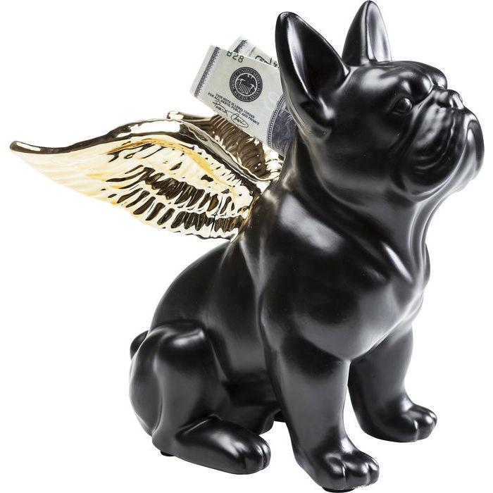 Skarbonka Sitting Angel Dog, czarno-złota (źródło: materiały prasowe)