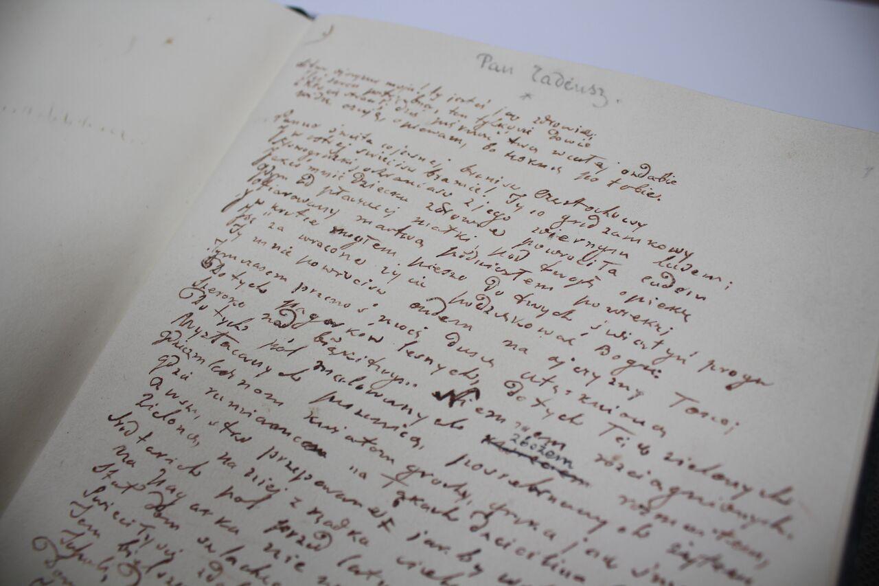 """Inwokacja """"Pana Tadeusza"""" – rękopis, fot. Adriana Myśliwiec (źródło: materiały prasowe organizatora)"""