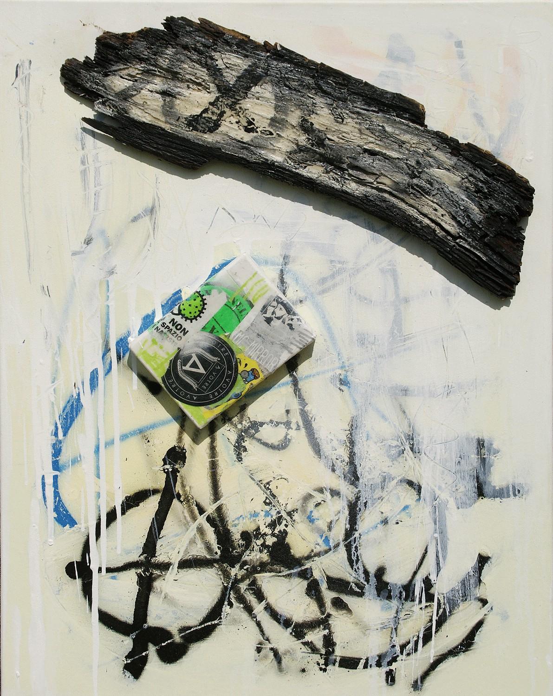 Piotr Ambroziak, bez tytułu, akryl, drewno, żywica, spray, 86x66 cm, 2017 (źródło: materiały prasowe organizatora)