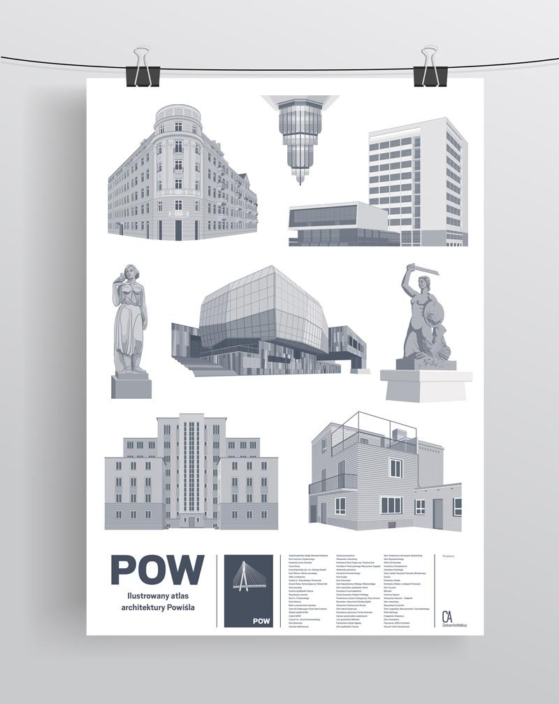 Plakat z architekturą Powiśla (źródło: materiały prasowe organizatora)