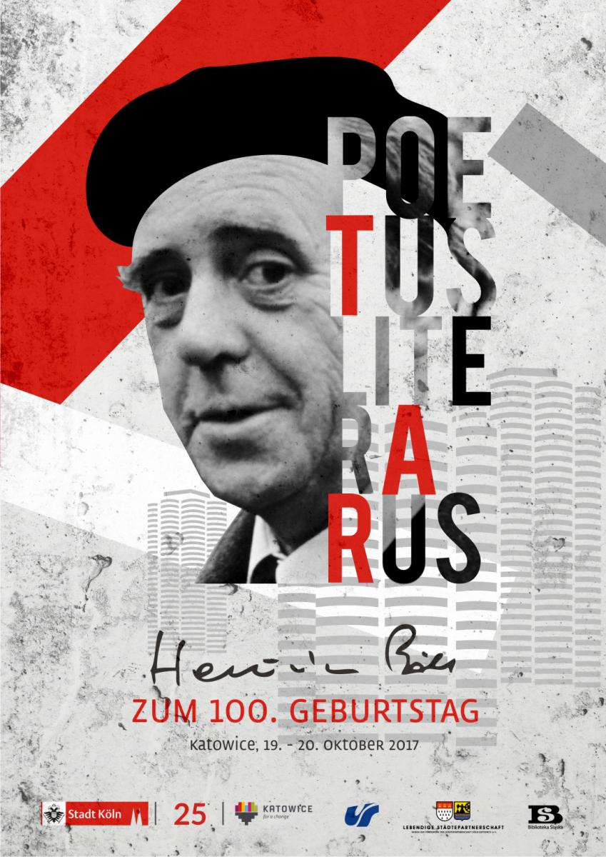 """Międzynarodowa Konferencja Naukowa """"Poetus literarus. Heinrich Böll w 100. rocznicę urodzin"""" – plakat (źródło: materiały prasowe organizatora)"""
