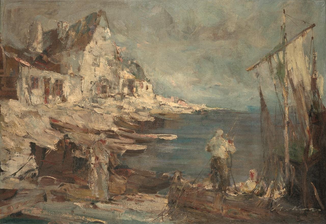 Marian Mokwa, Pejzaż nadmorski (Osada rybacka), ok. 1949, olej na płótnie, 65 × 94 cm, Muzeum Narodowe w Gdańsku (źródło: materiały prasowe organizatora)