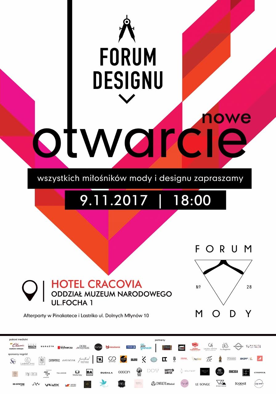 Plakat otwarcia Forum Designu i Forum Mody w nowej lokalizacji (źródło: materiały prasowe organizatora)