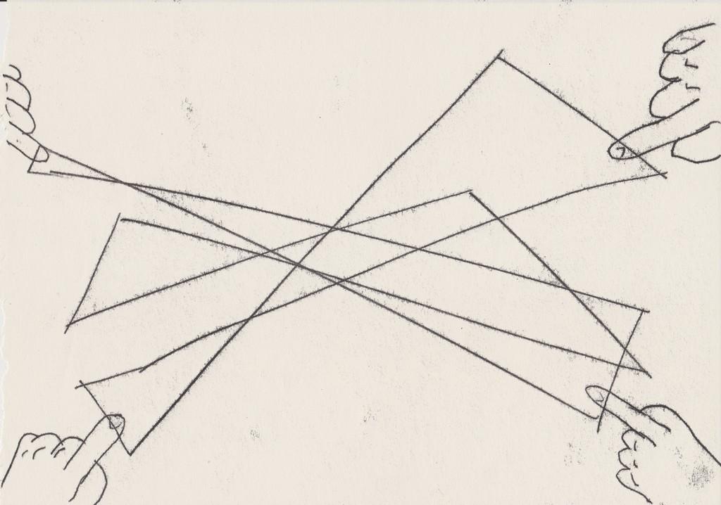 """Alicja Bielawska, """"Na cztery ręce"""", 2017, monotypia, 21 x 29,7 cm, dzięki uprzejmości artystki i galerii Kasia Michalski (źródło: materiały prasowe organizatora)"""