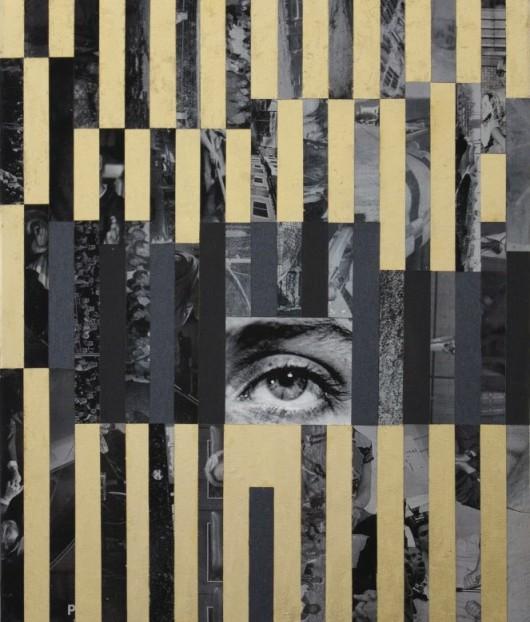 """Anna Ostoya, """"Lee nr 2"""", 2013, druk archiwalny, papier ścierny, płatki złota, płótno, fot. dzięki uprzejmości artystki i Galerie Silberkuppe, Berlin (źródło: materiały prasowe organizatora)"""