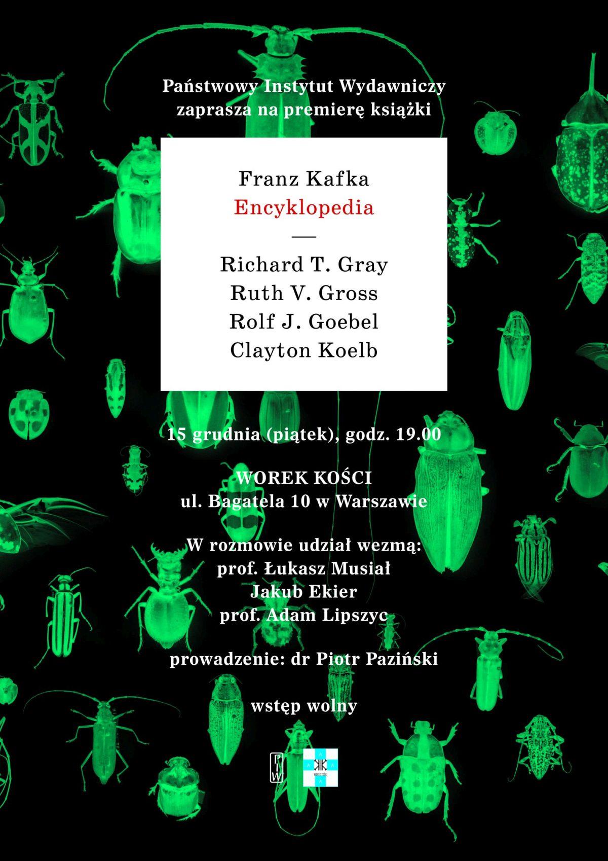 """Spotkanie wokół książki """"Franz Kafka. Encyklopedia"""" – plakat (źródło: materiały prasowe organizatora)"""