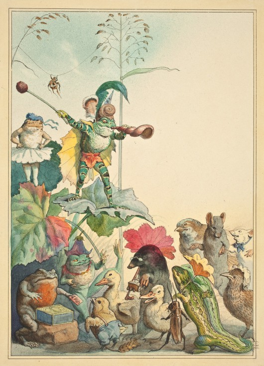 """""""Teatr żab"""", – projekt ilustracji do książki dla dzieci napisanej przez Juliusa Lohmeyera Fedor Flinzer 1880, rysunek (akwarela, tusz)  (źródło: materiały prasowe organizatora)"""
