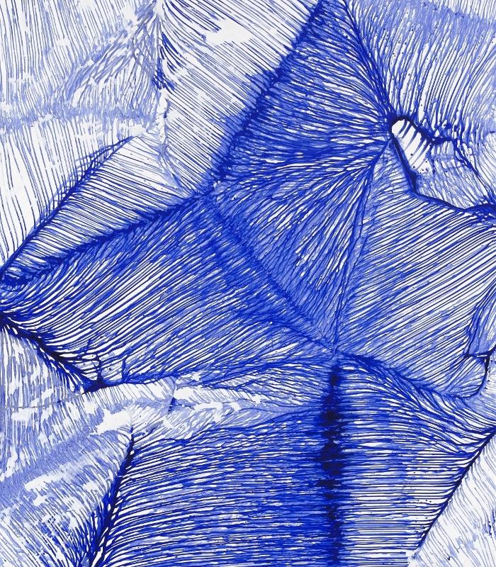 Urszula Wilk, Seria Bluemetrie nr 13, płótno, akryl, olej, 200 x 175 cm, 2014 (źródło: materiały prasowe organizatora)
