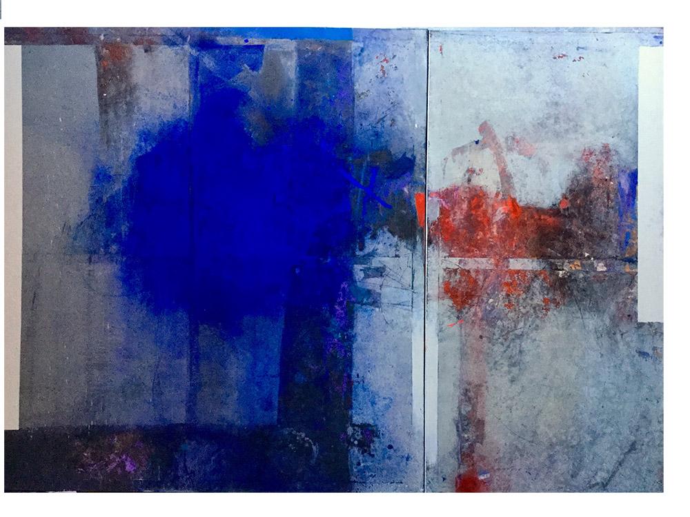 """Marian Waldemar Kuczma, """"Mapa świata – Południe"""", płótno, technika mieszana, 200 x 300 cm, 2017 (źródło: materiały prasowe organizatora)"""