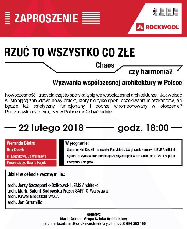 """""""Rzuć to wszystko co złe. Wyzwania współczesnej architektury w Polsce"""" (źródło: materiały prasowe organizatora)"""