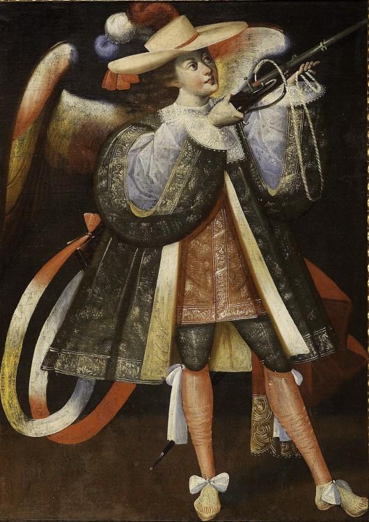 """""""Archanioł z arkebuzem"""" autor nieznany, Alto Peru, XVIII w. olej, płótno 109 × 80 cm  © Colección Barbosa-Stern (źródło: materiały prasowe organizatora)"""