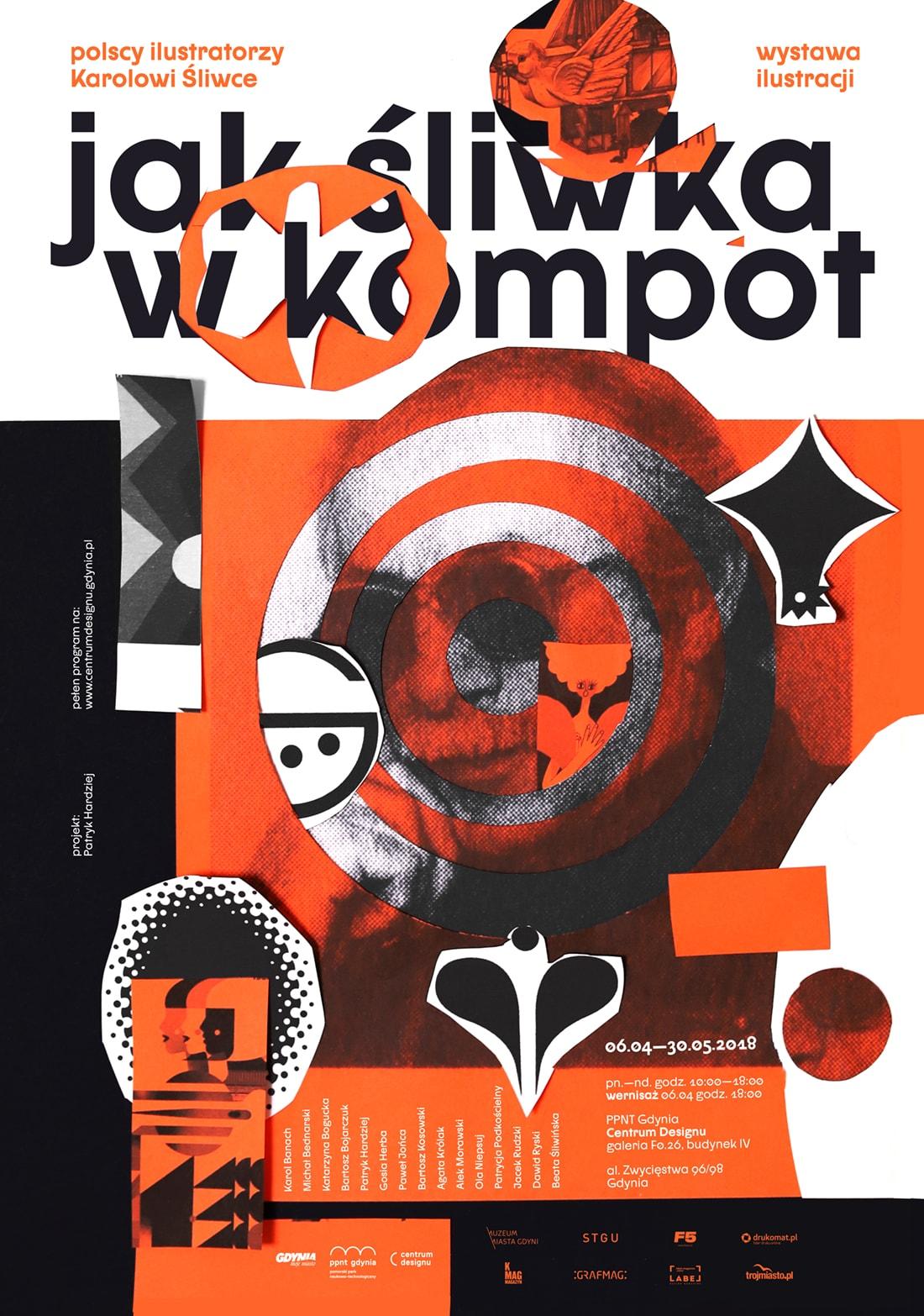 """""""Jak śliwka w kompot. Polscy ilustratorzy Karolowi Śliwce"""", PPNT Gdynia, Centrum Designu, plakat (źródło: materiały prasowe organizatora)"""