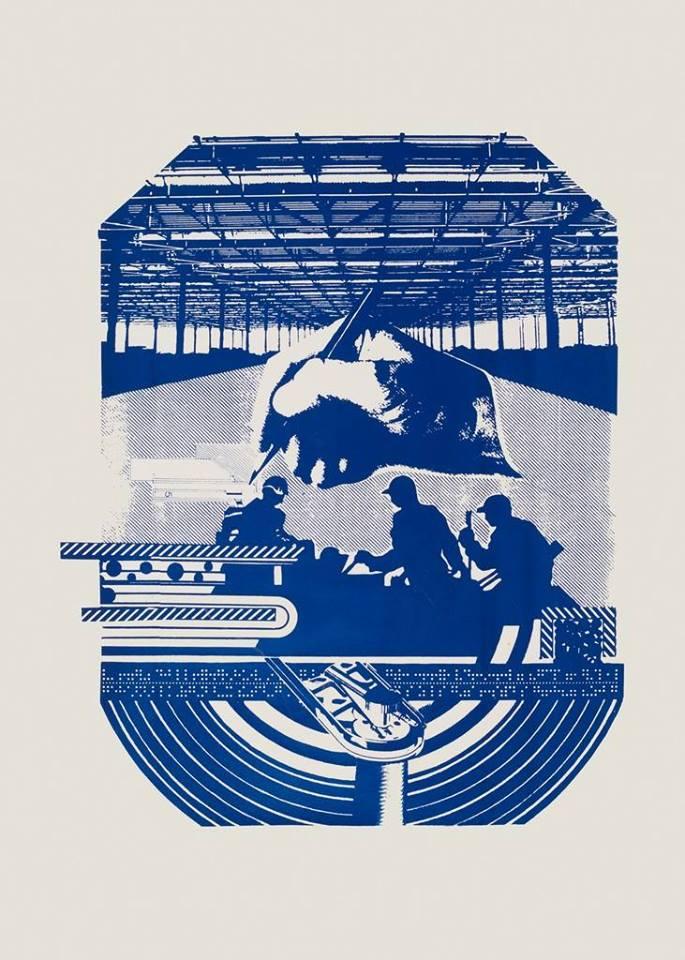 """Julian Mianowski, """"Wzajemna pomoc"""", serigrafia, 1986, Praca z kolekcji Galerii Arsenał (źródło: materiały prasowe organizatora)"""