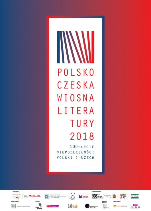 """""""Polsko-czeska wiosna literatury"""", plakat, Mazowiecki Instytut Kultury (źródło: materiały prasowe organizatora)"""