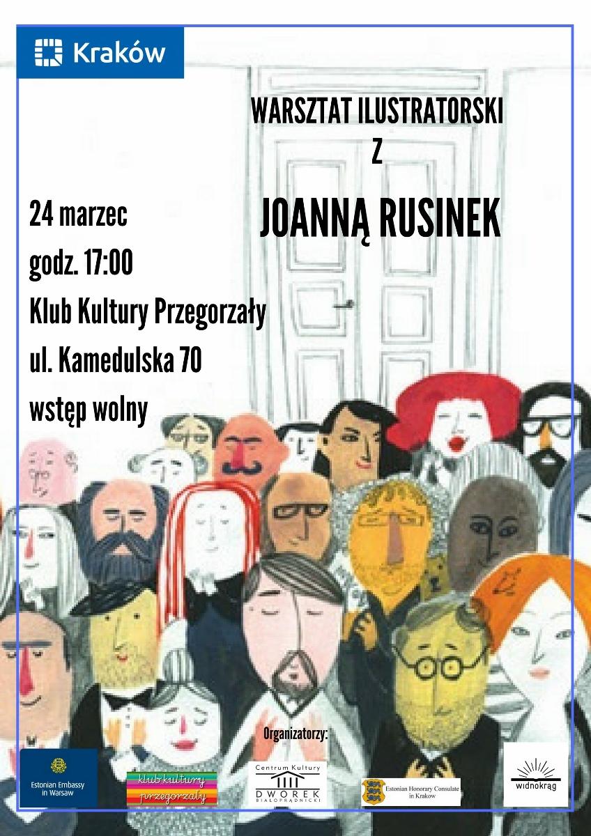 Plakat warsztatu ilustracji dziecięcej z Joanną Rusinek (źródło: materiały prasowe organizatora)
