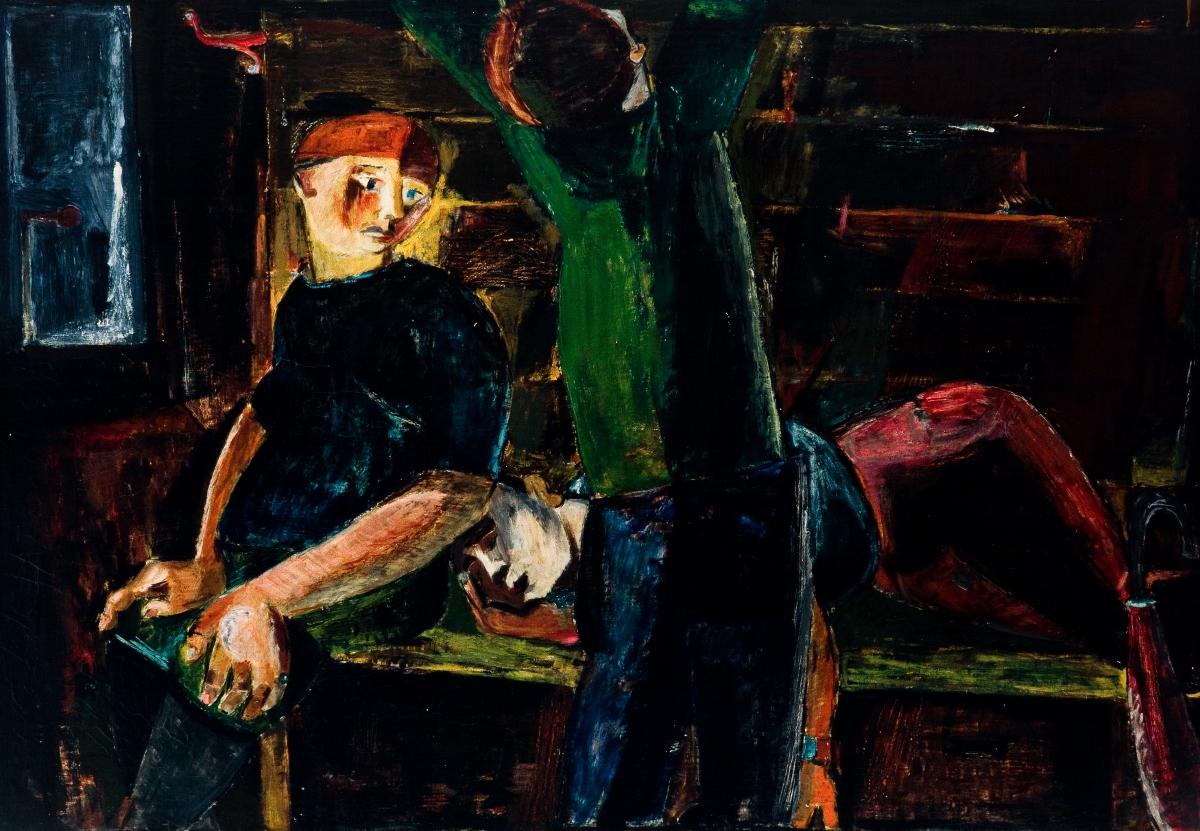 """Tadeusz Brzozowski, """"Wagon"""", 1946, olej, płótno, własność prywatna (źródło: materiały prasowe organizatora)"""