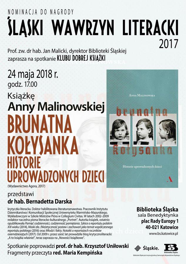 Plakat spotkania Klubu Dobrej Książki (źródło: materiały prasowe organizatora)