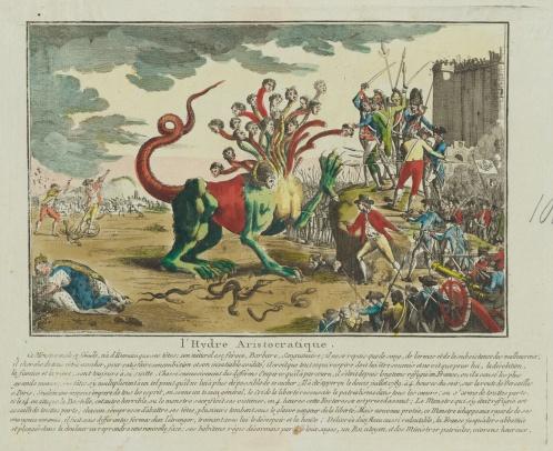 """Rytownik nieustalony, """"Hydra arystokratyczna"""" 1789-1799, Akwaforta kolorowana akwarelą (źródło: materiały prasowe organizatora)"""