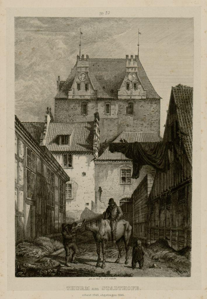 """""""Dwór Miejski z basztą"""", Johann Carl Schultz, Fot. © Muzeum Narodowe w Gdańsku (źródło: materiały prasowe organizatora)"""