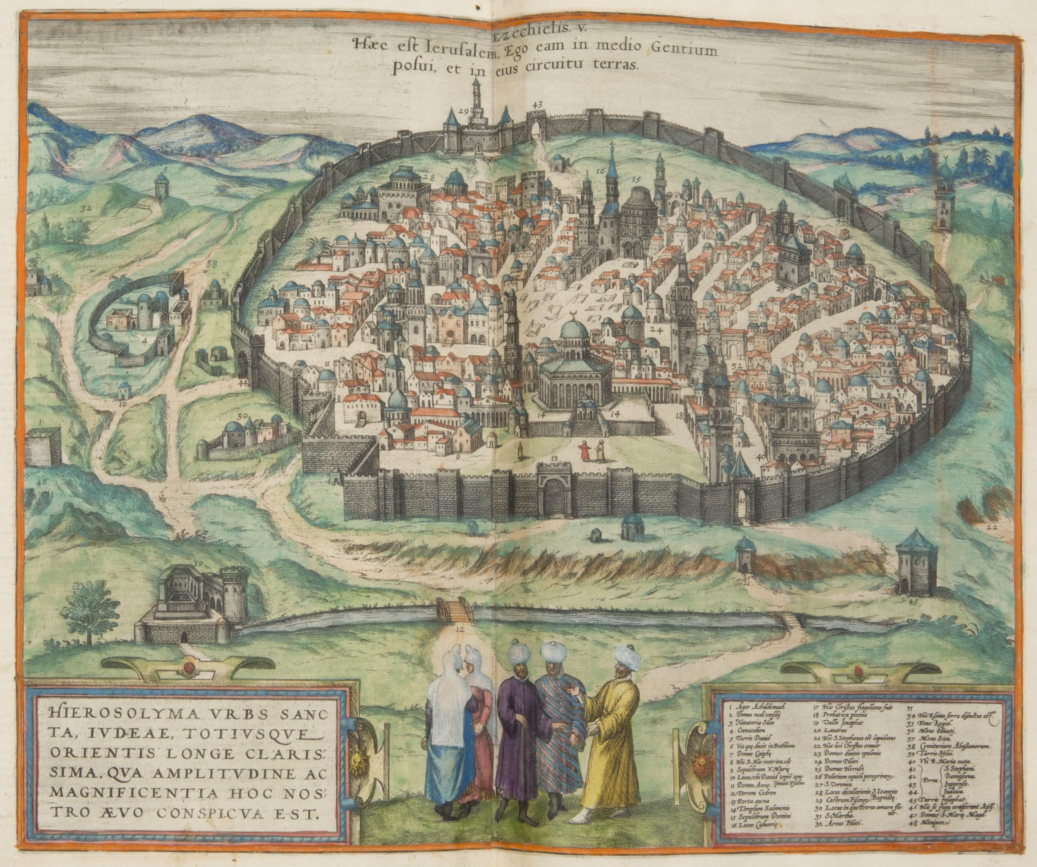 """""""Plan Jerozolimy otoczonej murem"""", z drugiego tomu atlasu miast Georga Bruna I Franza Hogenberga zatytułowanego Civitates orbis terrarum, wydanego w Kolonii w 1588 roku (źródło: materiały źródłowe organizatora)"""