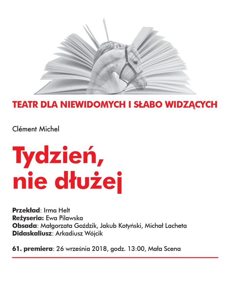 """Clément Michel, """"Tydzień, nie dłużej…"""", reż. Ewa Pilawska (źródło: materiały prasowe teatru)"""