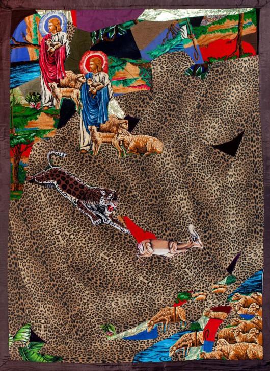 """Gülsün Karamustafa, """"Podwójny Jezus i młoda antylopa"""", 1984, kolaż z tkanin dekoracyjnych (źródło: materiały prasowe organizatora)"""