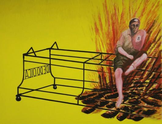 """Jarosław Modzelewski, """"Motywy sandomierskie"""", 2014, tempera, płótno, 170 x 220 cm (źródło: materiały prasowe organizatora)"""