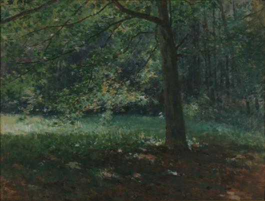 "Antonín Slavíček (1870-1910), ""Z bechyňskiego parku (Pod drzewami I)"", 1895, tempera, deska, KGVUZ (źródło: materiały prasowe organizatora)"