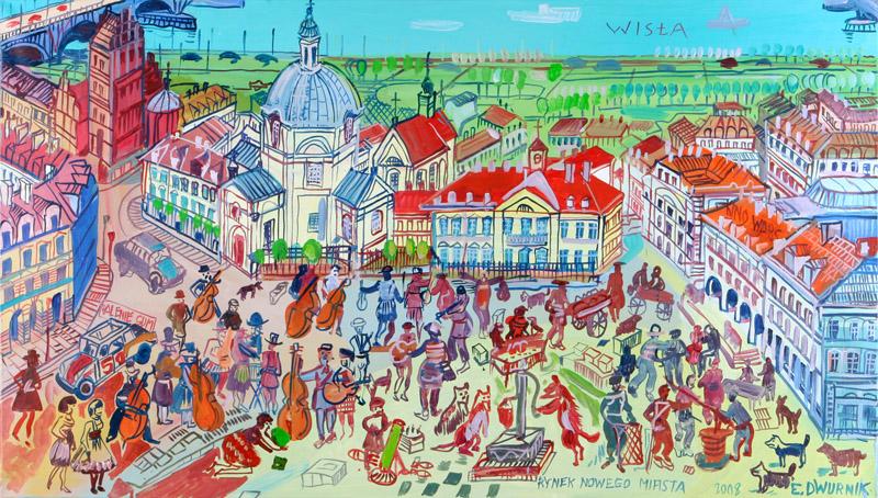 """Edward Dwurnik, """"Rynek Nowego Miasta w Warszawie"""" (źródło: DESA Modern)"""