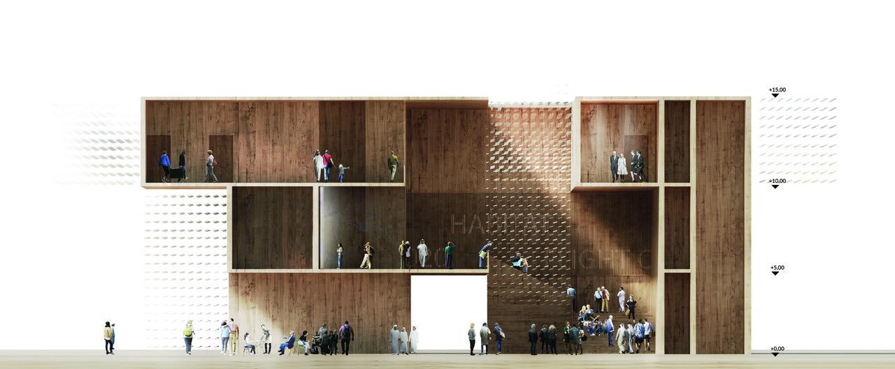 """""""Pawilon Polski"""", Expo 2020 w Dubaju, wizualizacja,pracowania architektoniczna WXCA (źródło: materiały prasowe pracowni)"""
