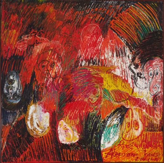 """Janusz Akermann, """"Rzeź w Gdańsku"""", 2018, olej na płótnie, 150x150 cm, fot. © MNG (źródło: materiały prasowe organizatora)"""