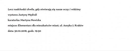 """Justyna Mędrala """"Lecz nadchodzi chwila, gdy otwierają się nasze oczy; i widzimy"""" (źródło: materiały prasowe organizatora)"""