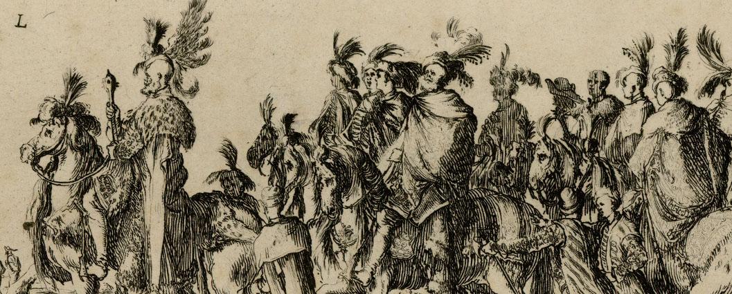 """Stefano della Bella, """"Wjazd Jerzego Ossolińskiego do Rzymu"""", fragment, 1633, akwaforta, fot. © MNG (źródło: materiały prasowe organizatora)"""