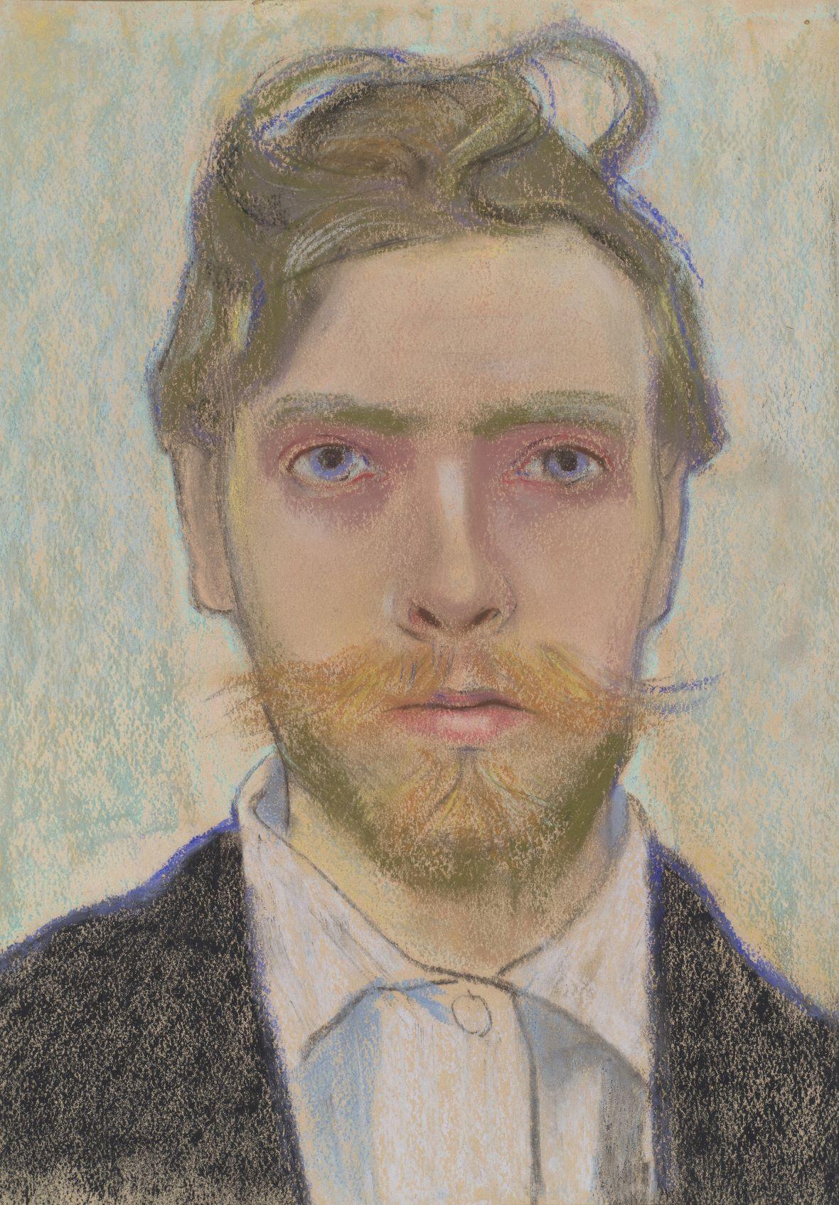 """Stanisław Wyspiański, """"Portret własny artysty"""", 1897, pastel, papier, fot. Michał Obarzanowski/Mirosław Żak (źródło: Muzeum Narodowe w Krakowie)"""