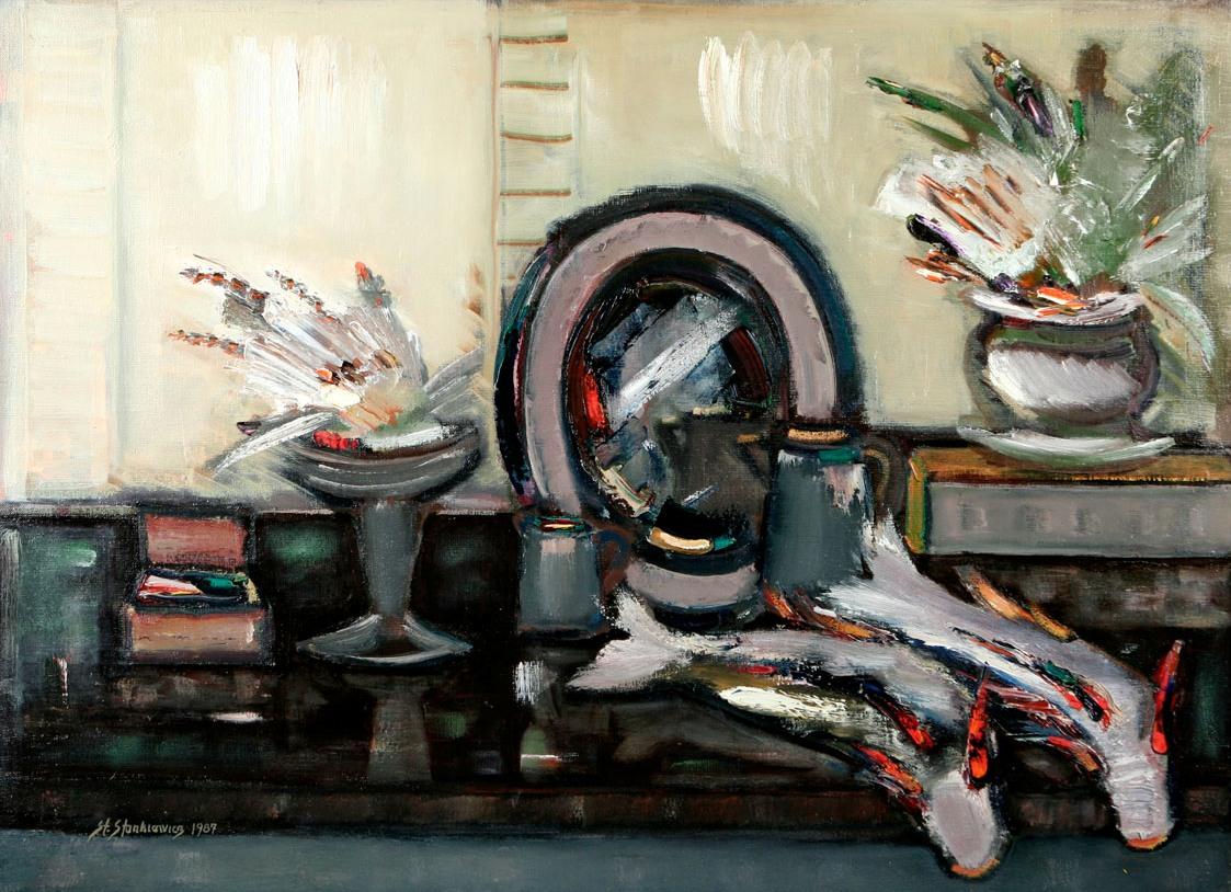 """Stefan Stankiewicz, """"Martwa natura z rybami"""", 1987, olej na płótnie, 68 x 95, fot. © Tomasz Radziemski (źródło: materiały prasowe organizatora)"""