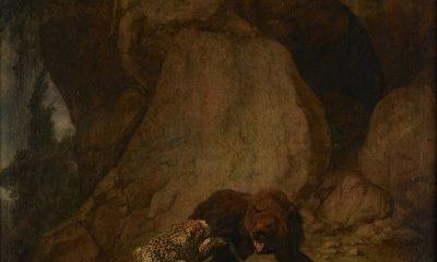 Carl Borromäus Ruthart (Gdańsk 1630?– 1703 L'Aquila), Walka niedźwiedzia z lampartem, 1660-1670, płótno, technika olejna, fot. © MNG (źródło: materiały prasowe)