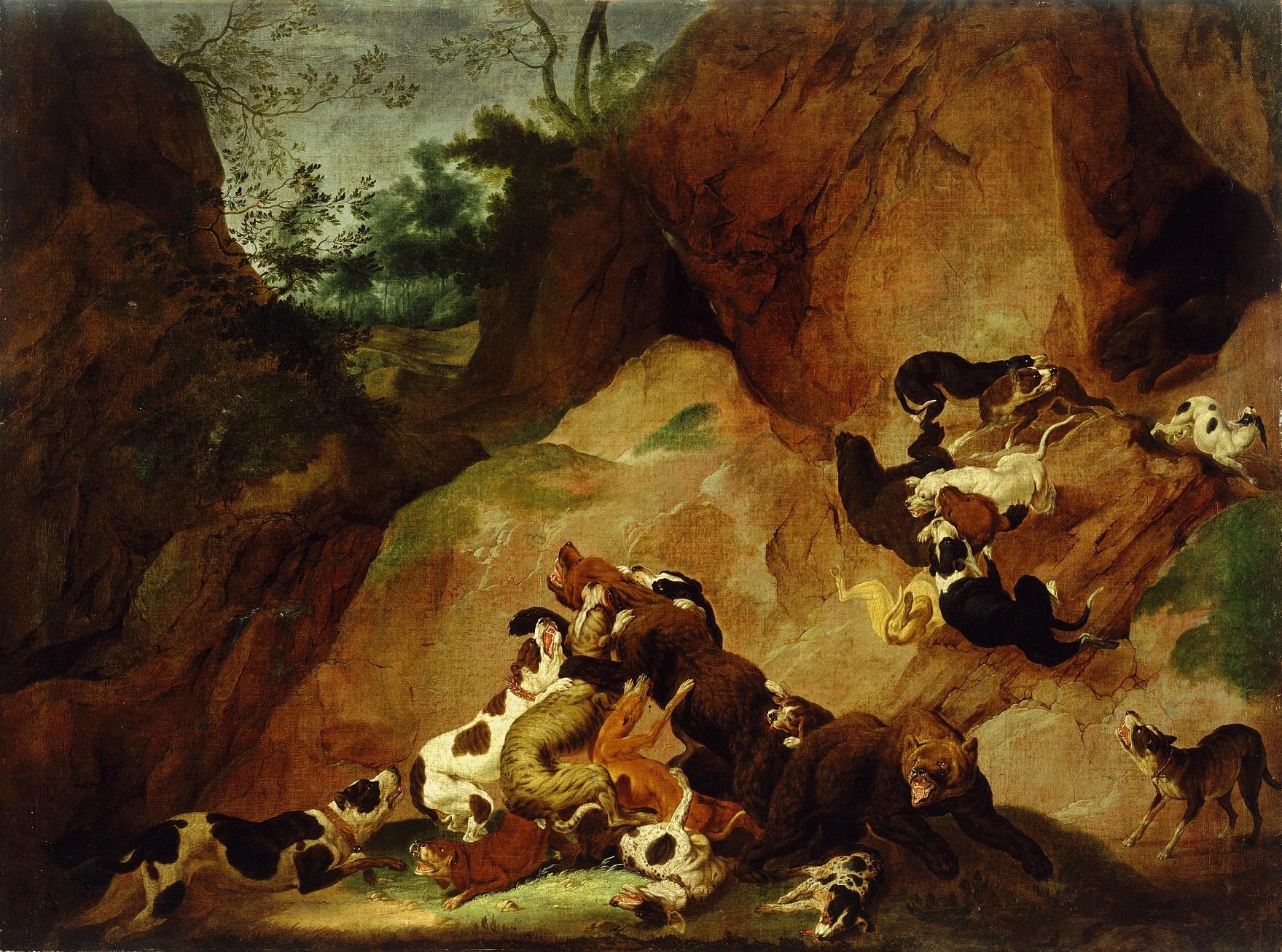Carl Borromäus Ruthart (Gdańsk 1630?– 1703 L'Aquila), Walka niedźwiedzi i psów, 1660-1670, płótno, technika olejna, fot. © Narodna Galerija Lublana (źródło: materiały prasowe)