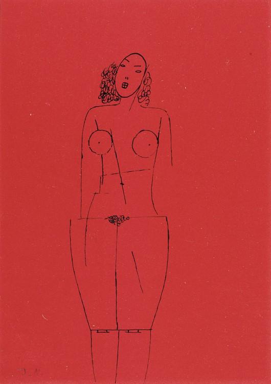 Jerzy Nowosielski, Akt, 1952, tusz papier, 20,9 × 14,8 cm, fot. M. Gardulski, praca z kolekcji Galerii Starmach (źródło: materiały prasowe)