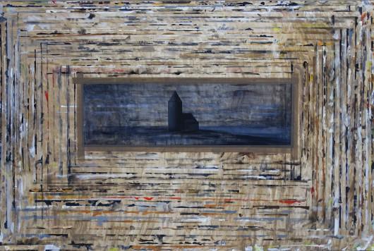 Dariusz Mlącki, Deska z obrazkiem z kościółkiem, 2016 , akryl i olej na płótnie,150 × 100 cm (źródło: materiały prasowe)