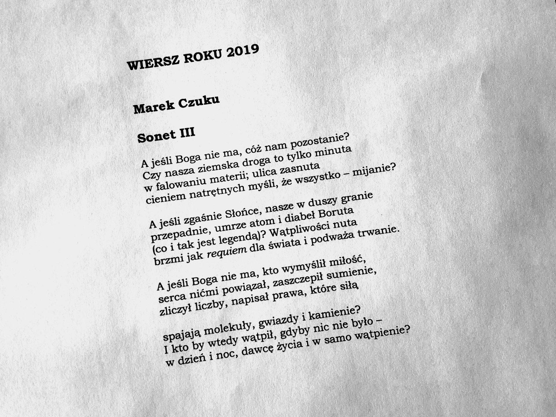 ZPK WIERSZ ROKU 2019 SONET III – Marek Czuku, 2019 Marek Czuku (źródło: materiały prasowe)