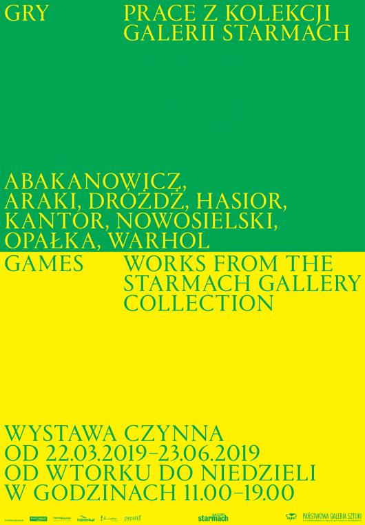 Plakat wystawy GRY. PRACE Z KOLEKCJI GALERII STARMACH // 22.03-23.06.2019 (źródło: materiały prasowe)