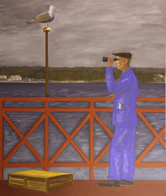 Jarosław Modzelewski, Kobaltowy obserwator, 2019, tempera żółtkowa/ płótno, 130×110 cm (źródło: materiały prasowe)