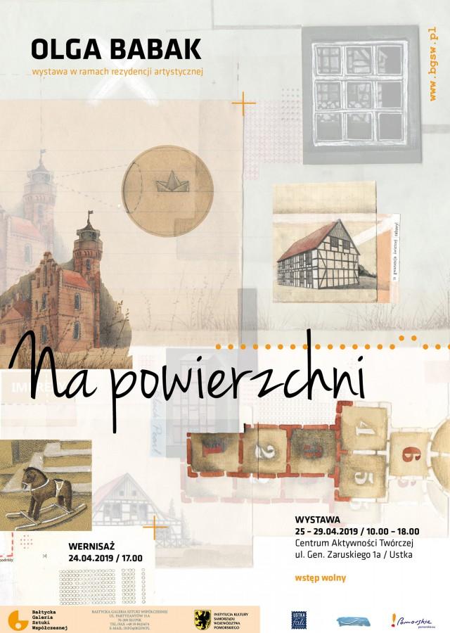 """Plakat wystawy: Olga Babak """"Na powierzchni"""" / """"On the Surface"""" (źródło: materiały prasowe)"""
